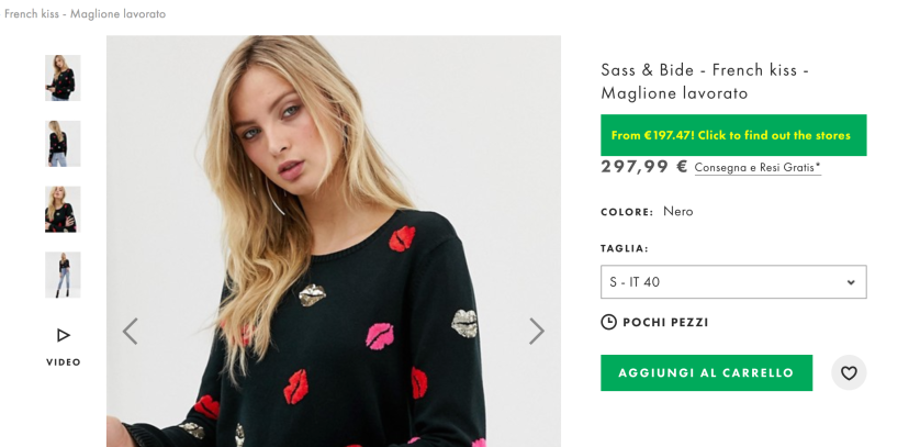 ASOS price tracker shows an ASOS product sold for €300 in ASOS Italy found €100 cheaper in another store